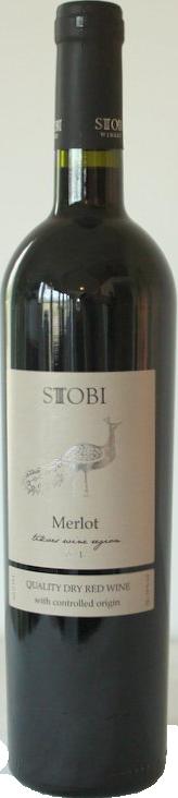 Goedkope rode droge wijn Stobi Merlot